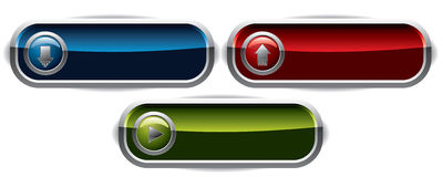 Upload, Download & Play wide buttons Royalty Free Stock Images