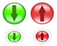 Upload en download knopen stock afbeelding