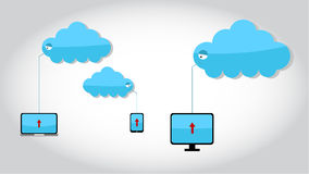 Upload file to cloud storage. Vector illustration of upload file to cloud storage Stock Photo