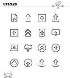 Upload flat icon set. Collection of high quality outline symbols for web design, mobile app. Upload vector thin line icons or logo Royalty Free Stock Photography