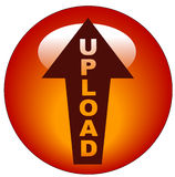Upload icon or button. Red upload arrow web button or icon Royalty Free Stock Image