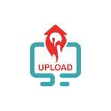 Upload icon vector illustration. Upload sign on pc laptop. Red upload button. Web upload flat icon Stock Image