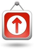 Upload l'icona di colore rosso del calcolatore Immagini Stock