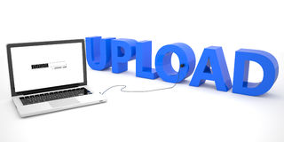 Upload. Laptop computer connected to a word on white background. 3d render illustration Royalty Free Stock Photos