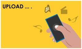Upload met hand - gehouden smartphone op de gele achtergrond Waar te om muziek, documentfilms, enz. te downloaden Vlakke vectoril stock illustratie