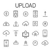 Upload related vector icon set. Well-crafted sign in thin line style with editable stroke. Vector symbols isolated on a white background. Simple pictograms Stock Photography