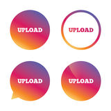 Upload sign icon. Load symbol. Gradient buttons with flat icon. Speech bubble sign. Vector vector illustration