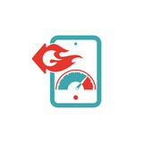 Upload sign on tablet screen, vector icon. Upload files on tablet pc. Red and blue load icon. Upload process full power Stock Photo