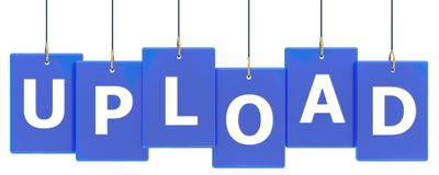 Upload tag banner. Upload 3d rendered blue tag banner , isolated on white background Stock Images