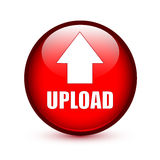 Upload text with arrow up on red button Stock Photos