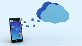 Upload to cloud. 3d animations of apps uploading into the cloud vector illustration