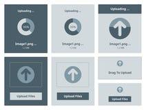 Upload vector interface. Vector illustration set of modern minimalistic web upload widget interface Royalty Free Stock Photos