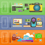 Upload Video, Photo Processing. Video camera with cinema tape. Monitor with media player and video files. Video processing.  Cloud photo nad video storage icon Royalty Free Stock Image
