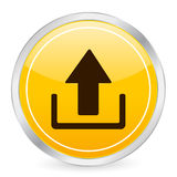 Upload yellow circle icon Stock Photos