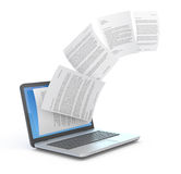 Uploading documents from laptop. 3d illustration Royalty Free Stock Photography