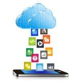 Uploading documents to smart phone Stock Image