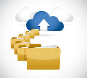 Uploading info to cloud. cloud computing concept Stock Photos