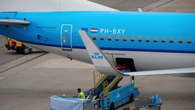 Uploading luggage onboard the aircraft. AMSTERDAM, THE NETHERLANDS - JULY 29, 2017: KLM Royal Dutch Airlines Boeing 737 PH-BXY at uploading luggage onboard stock video