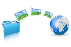 Uploading pictures from blue folder Stock Photography