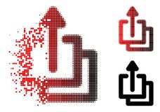 Damaged Pixelated Halftone Uploads Icon. Uploads icon in sparkle, dotted halftone and undamaged entire variants. Particles are grouped into vector dissolving stock illustration