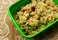 Upma in Lunch box Royalty Free Stock Image