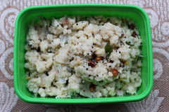 Upma in Lunchdoos Stock Foto's