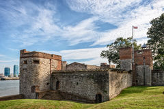 Upnor castle in Rochester, Kent. Rochester, United Kingdom - September 11, 2015: Upnor castle courtyard in Rochester, England as seen on 11th of September, 2015 Royalty Free Stock Images