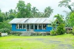 Upolu Island, Samoa - October 30, 2017: Typical Samoan home, where house has open sides. And garden area stock photos