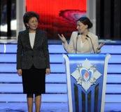 Upoważniający pod prezydentem federacja rosyjska Anna Kuznetsova i delegatem federaci rada Galina Karelova przy cerem Obrazy Royalty Free