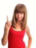 uppåtriktad kvinna för fingerindexshows arkivfoto