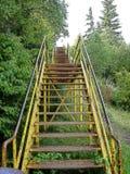 Upp den gula trappuppgången Arkivfoto