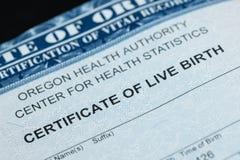 Upp slutskottet av certifikatet av levande födelse arkivfoton