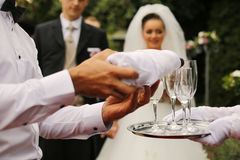 Uppassare Pouring Champagne Into Glasses Arkivfoto