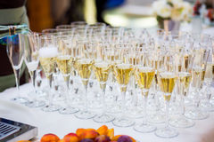 Uppassaren häller champagne in i ett exponeringsglas Exponeringsglas på den vita fliken Arkivbilder