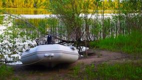 Uppblåsbart fartyg för att fiska Arkivbilder