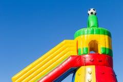 Uppblåsbar slott för lekplats Arkivfoto