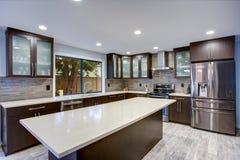 Uppdaterad modern kökruminre i vit- och mörkersignaler arkivbild