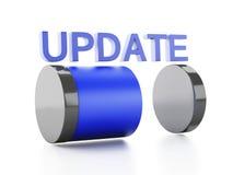 Uppdateringpäfyllningsbegrepp på vit bakgrund Fotografering för Bildbyråer