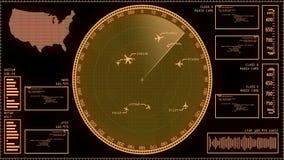 Uppdiktad skärm för bildskärm för svep för radar för flygtrafikkontroll royaltyfri illustrationer