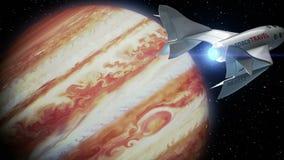 Uppdiktad spaceplane på omlopp av Jupiter, begrepp av rymdskeppet för utrymmeturism, animering 3d Textur av planeten royaltyfri illustrationer