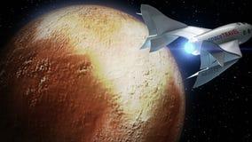 Uppdiktad spaceplane på omlopp av Pluto royaltyfri illustrationer