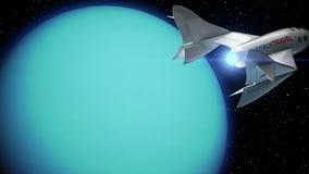 Uppdiktad spaceplane på omlopp av Uranus stock illustrationer