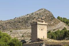 Uppehälle av slotten av Alhama de Aragà ³ n, Zaragoza, Spanien royaltyfria bilder