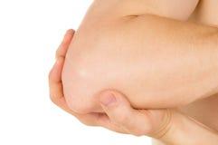 Uppehällehänder bak armbåge fotografering för bildbyråer