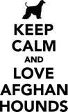 Uppehällestillhet och afghanska hundar för förälskelse royaltyfri illustrationer