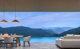 Uppehället och matsal för villa för vindstilpöl med tolkningen för bergsikten 3d avbildar Royaltyfria Bilder