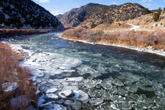 Upper Arkansas River in the Rocky Mountains of Colorado. Winter,. Ice floats on water Stock Images
