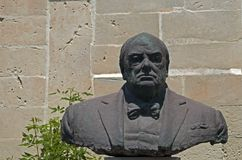 Malta - Winston Churchill. The bronze bust of former British Prime Minister Sir Winston Churchill - Upper Barracca Garden, Valletta, Malta Stock Photos