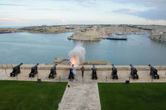 Upper Barrakka Gardens & Saluting Battery with cannons in Malta Stock Images