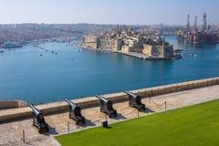Upper Barrakka Gardens & Saluting Battery in Valletta Stock Photo